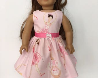 18 Inch Doll Clothes Dress With Ballerina  Figures, Ribbon And Bow Optional Pink Maryjanes With Bows  Fits Like American Girl Doll Clothes