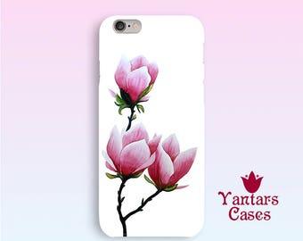 Phone Case Magnolia iphone case 6 Pink floral iPhone 5s case Art iphone cover SE iPhone 7 case Iphone 6 Plus Flower iPhone case 5 Watercolor