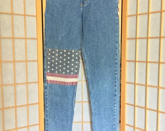 Vintage 90's The Limited highwaisted American flag jeans//sz 14 jr.