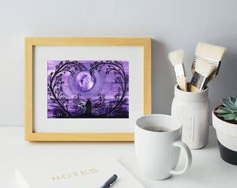 Purple Fairy Print watercolor art for the home