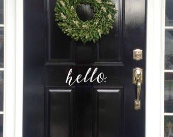 Front Door Hello Vinyl Decal - Front Door Sticker - Door Welcome Sign