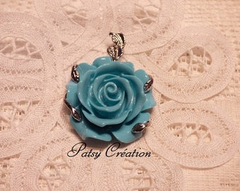 SILVER PENDANT SET IN ITS FOLIAGE TURQUOISE ROSE