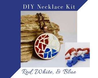 USA Flag Themed Kit, Complete Necklace Making Kit, Glass Mosaic Necklace Activity, Red, White, and Blue with copper circle, DIY Jewelry Kit