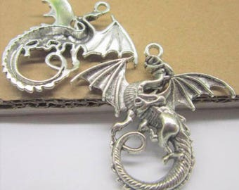 large shiny silver color, mystical symbol DRAGON pendant