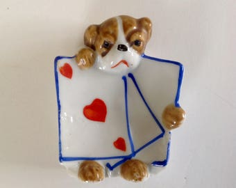 Bull Dog Playing Card Ashtray - Lusterware - Vintage - Made in Japan