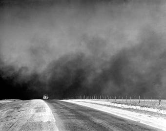 "1936 Outrunning the Dust Bowl, Texas Vintage Photograph 8.5"" x 11"" Reprint"