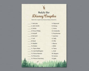 Woodsy Disney Couples Match Game, Match Disney Couples Bridal Shower Game Printable, Trees Plants, Famous Couples Match Game, Moss, A010