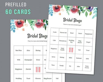 60 Prefilled Bridal Bingo Cards, Printable Bridal Shower Game, Watercolor Floral, Unique Pre-filled Bingo Cards and Calling Sheet, A007