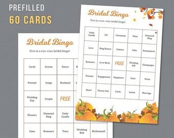 Fall Bridal Shower Bingo Prefilled 60 Cards, Autumn Leaves, Pumpkins Bingo Cards, Bridal Shower Games, Bachelorette Party, Wedding,  A022