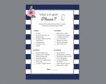 Kate Spade Whats in your Phone Game Printable, Navy Blue White Stripes, What's on Your Phone, Bridal Shower Games, Wedding Shower, A019