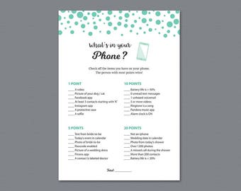 Whats in Your Phone Game Printable, Floral Bridal Shower Games, Seafoam Green Dots Confetti, Cell Phone Game, What's on Your Phone, A018