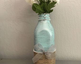 Shabby Country Chic Milk Bottle Vase