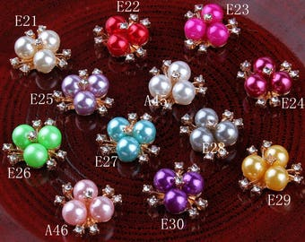 20mm Bling Metal Rhinestone Pearl Buttons Clear Decorative Flatback Crystal Flower Buttons for Baby Gilrs Hair Accessories