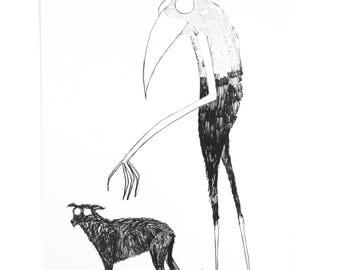 Monster, Dog, Wall Art, Home Decor, Digital Print, Illustration