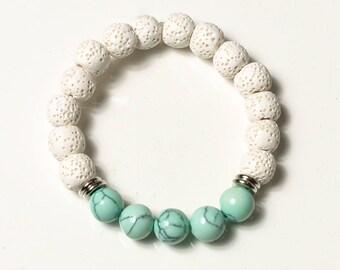 White Lava Bracelet, Essential Oil Diffuser Bracelet, Turquoise Diffuser Bracelet, Bridesmaids Gifts Jewelry, Lava Bead Bracelet For Women