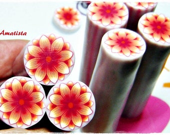 Polymer clay flower cane: Raw polymer clay cane - Millefiori cane supplies - Red flower cane - Supplies for jewelers