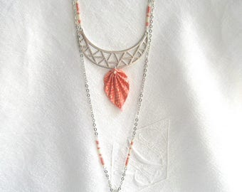 """Necklace silver multiposition origami salmon and ivory - """"Boho"""" Collection"""