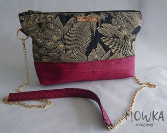 Handbag made with red cork leather