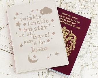 Personalised Twinkle Twinkle Cream Passport Holder. Childrens. New Baby,Christening Holiday Young Traveller Passport Cover. Genuine Leather