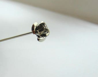 extra long hat pin scarf pin hijab silver rose antique