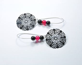 Earrings, silver and fuchsia