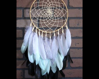 Heavily  feathered grey, green and black dreamcatcher