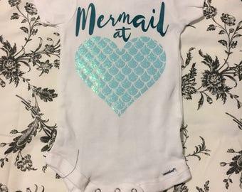Mermaid at heart, mermaid, baby bodysuit, baby onesie, mermaid baby