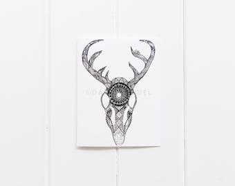 Boho Card/Tribal Deer Skull Print/Deer Skull Cards/Boho Skull Notecard Set/6 Card Pack/ Tribal Notecard Set/blank Greeting Card/CC-73