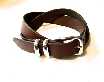simple brown handmade leather belt