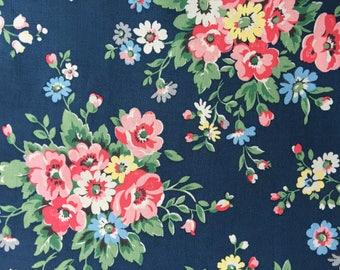 "Cath Kidston Half Yard Cotton Fabric 55""(140cm) Wide_Folk Flowers Navy PF006"