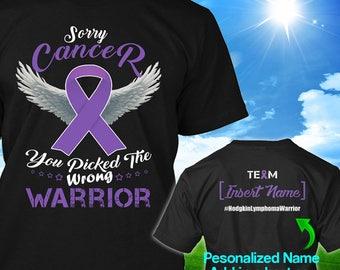 Personalized Hodgkin's lymphoma Disease Awareness Tshirt Violet Ribbon Warrior Hodgkins Survivor Custom T-shirt Apparel Unisex Women Youth