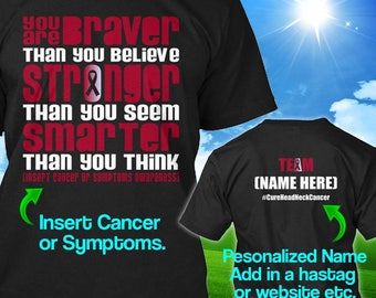 Personalized Head Neck Cancer Awareness Tshirt Burgundy Ivory Ribbon Braver Survivor Custom T-shirt Apparel Unisex Women Youth Kids Tee
