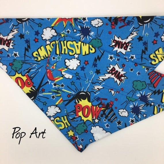 Dog Bandana, Pop Art, Superhero Bandana, Dog Bandana UK