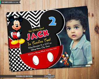 Mickey Mouse Invitation - Mickey Mouse Birthday Invitation - Mickey Mouse Birthday Party - Mickey Party - Mickey Invitation with photo