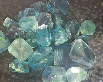 Blue green Flourite faceted nuggets,  undrilled gemstone beads, approx 20 gemstone beads 120ct, different sizes, natural gemstones,B Quality