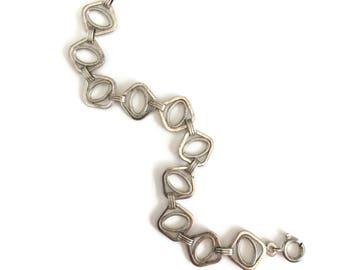 Modernist Sterling Silver Bracelet by Uno A Erre Made in Italy, Modern Link Bracelet, Uno A Erre Jewelry, Italian Silver Jewelry, Geometric