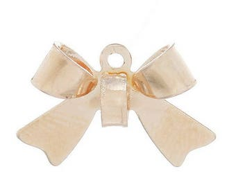 SET of 10 gold gold bow charms pinkish (S42)