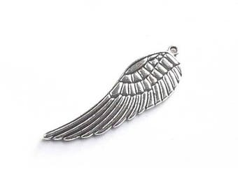 SET of 5 charms large 16 * 50mm angel wing Silver (D14)