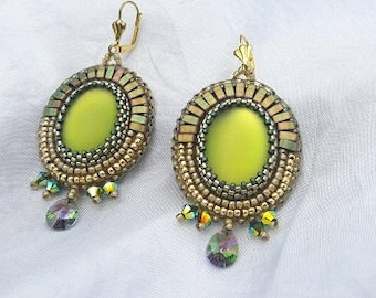 Lime bead embroidery earrings