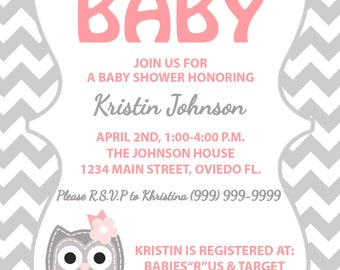 Pink and Gray Owl baby shower invitation