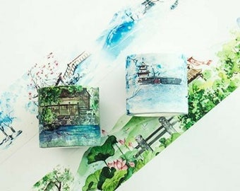 Creative Chinese Pavilion Winter Summer Scenery Wide Washi Tape ~ Decorative Masking Tape, Planner Bujo Craft Tape, DIY, Scrapbooking, Gift
