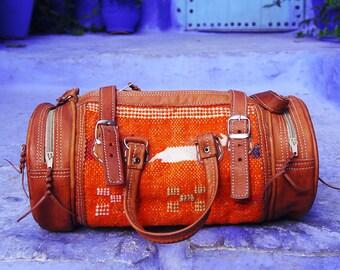 Moroccan Handbag / Kilim bag / Orange kilim bag / Ethnic bag / Boho bag / boho purse / Moroccan purse