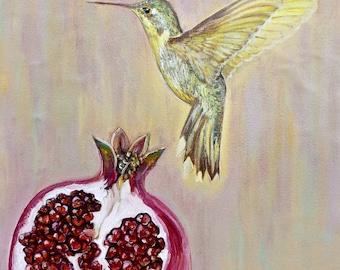 Hummingbird and pomegranate ( 30 Х 40 cm)