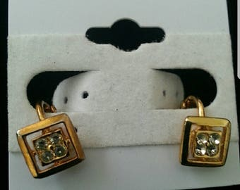 Square Gold and Diamond Vintage Earring from 1970
