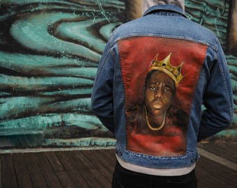 Notorious BIG Hand Painted Denim Jacket - READY to DISPATCH - Biggie Smalls - Premium Custom Painting