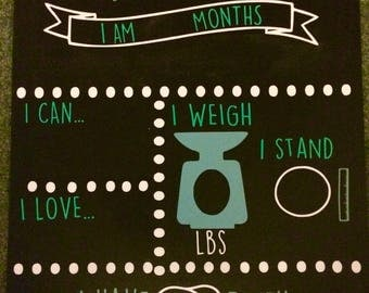 Monthly milestone chalkboard for babies/ infants month photograph