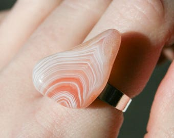 Raw Sardonyx Polished Nugget Ring - Adjustable