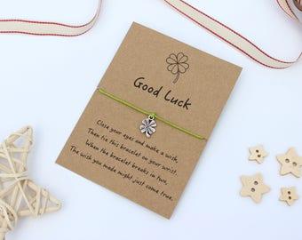 Good Luck Wish Bracelet, Wish Bracelet, Good Luck Charm, Four Leaf Clover, Lucky Charm, Good Luck Bracelet, Good Luck Charm Bracelet