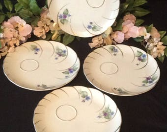 Luncheon, Tea & Snack Plates, 24K Gold Scalloped Trim, White China with Purple and Blue Flowers, Set of Four (4)