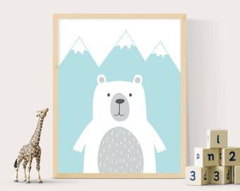 Woodland bear print, Bear printables, Nursery wall art, Bear print, Woodland print, Nursery print, Digital bear print, Scandi, Nursery decor